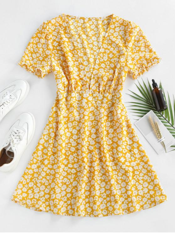 ZAFUL Ditsy Floral Plunge Frilled Mini Dress - الأصفر M