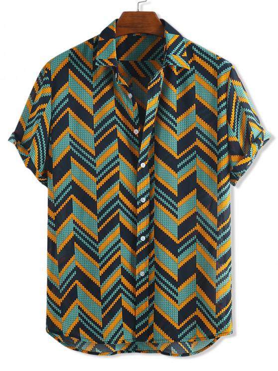 Camisa Corta Estampado Zigzag Manga Corta Botones - Multicolor-A S
