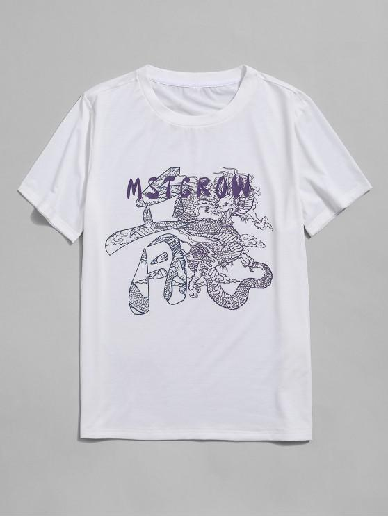 outfit ZAFUL Letter Oriental Dragon Print Short Sleeve T-shirt - WHITE XL