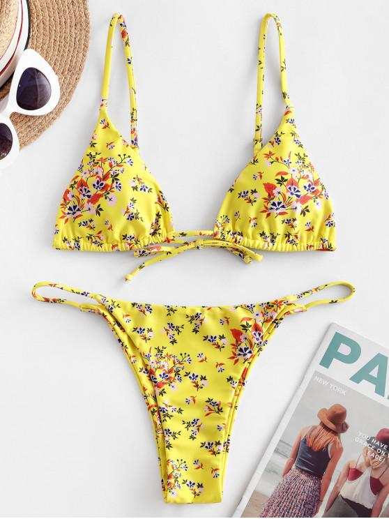 hot ZAFUL Ditsy Print String Bikini Swimsuit - MULTI-B S