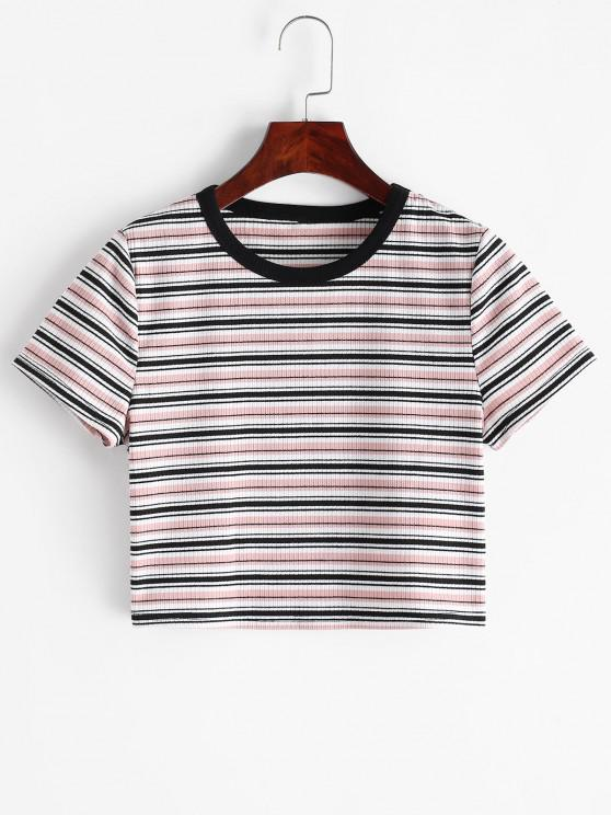 outfits ZAFUL Ribbed Striped Crop T-shirt - MULTI-A S