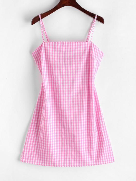 ZAFUL Mini Vestido Gingham com Decote de Laço - Rosa S