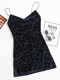 Stars Side Slit Cowl Front Velvet Dress - Deep Blue S