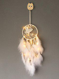 Faux Pearl Beaded Butterfly Feather Dream Catcher - White With Lights