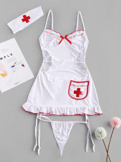 Lace Mesh Garter Cutout Lingerie Nurse Costume Set - White