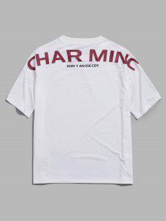 ZAFUL Letter Print Drop Shoulder Short Sleeve T-shirt - White Xl