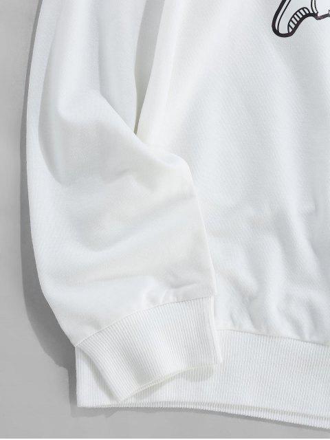 ZAFUL宇航員滑冰打印圓領運動衫 - 白色 M Mobile