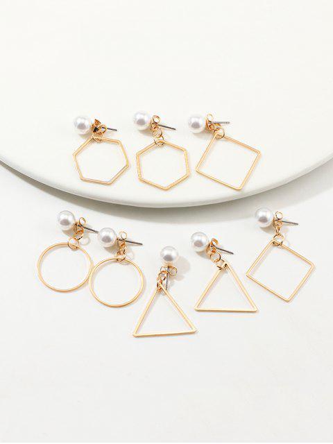 4 парыГеометрические Серьги Комплект Искусственный жемчуг - Золотой  Mobile