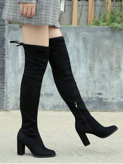 women's Tie Back Chunky Heel Thigh High Boots - BLACK EU 40 Mobile