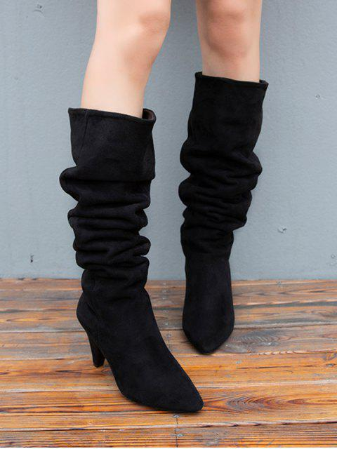 hot Cone Heel Ruched Suede Long Boots - BLACK EU 39 Mobile