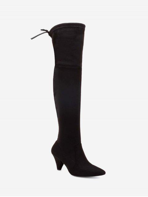 ladies Cone Heel Suede Thigh High Boots - BLACK EU 38 Mobile