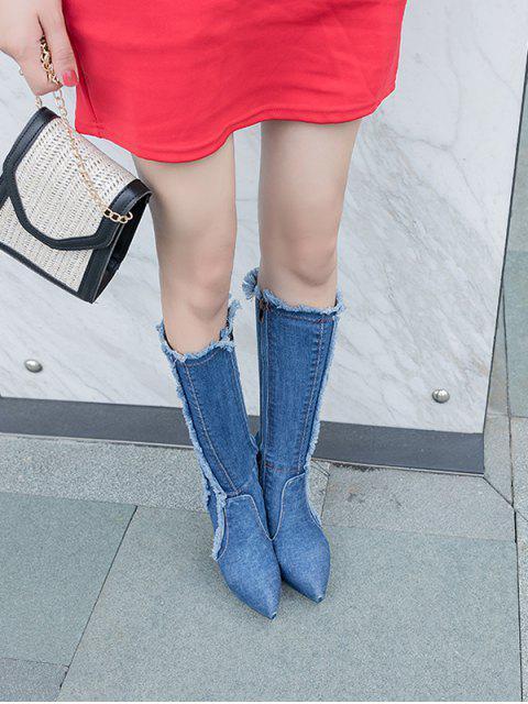new Frayed Trim Super High Heel Denim Boots - LIGHT BLUE EU 36 Mobile