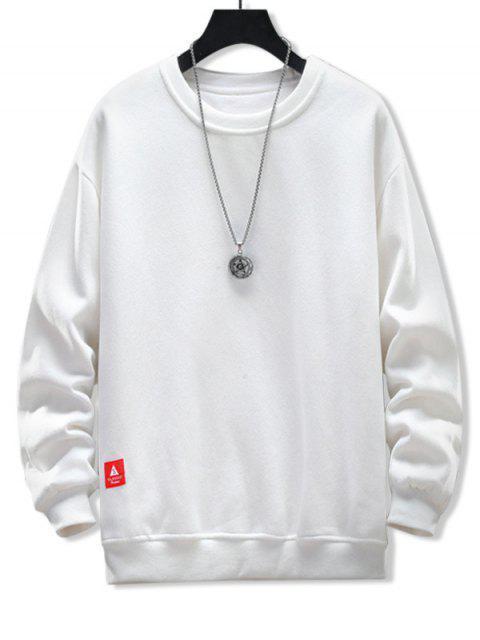 固體貼花圓領運動衫 - 牛奶白色 L Mobile