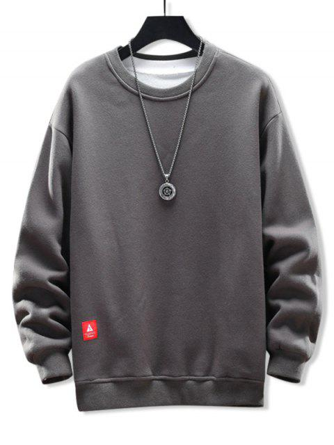固體貼花圓領運動衫 - 灰色雲彩 M Mobile