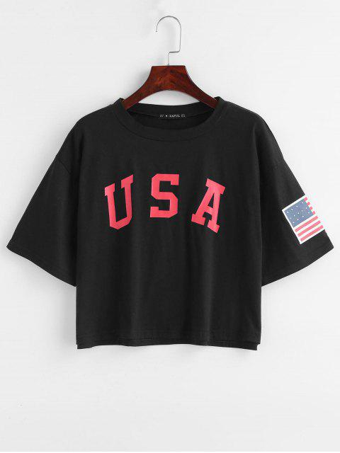 best ZAFUL American Flag Graphic Tee - BLACK S Mobile