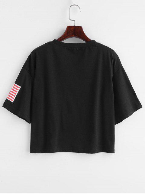 online ZAFUL American Flag Graphic Tee - BLACK M Mobile