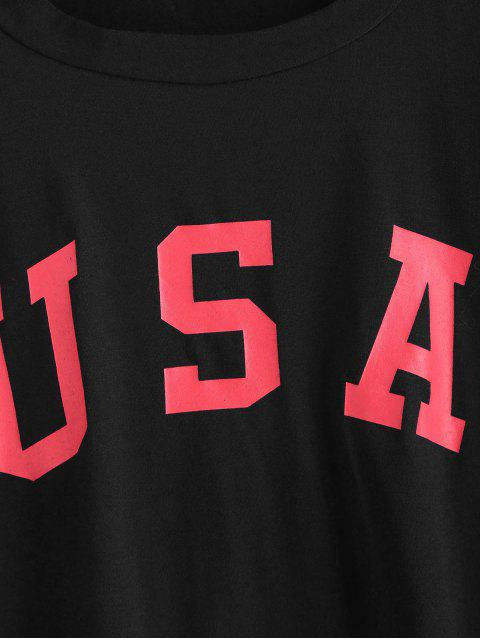 new ZAFUL American Flag Graphic Tee - BLACK L Mobile