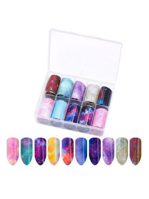 10 шт Красочный принт Стикеры для ногтей - Многоцветный-Б  Mobile