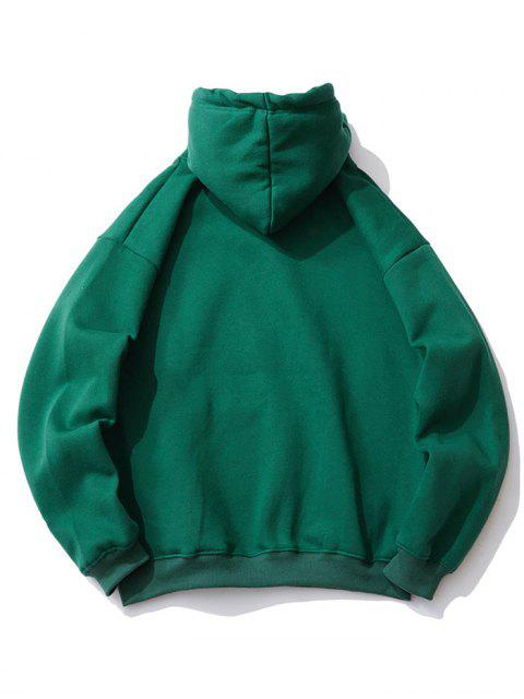 Sudadera con Capucha de Hombro Caído de Bordado - Verde Oscuro XL Mobile