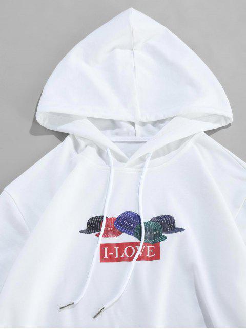 ZAFUL條紋帽I-情書打印小袋連帽衫 - 白色 XL Mobile