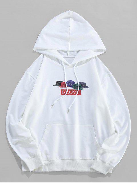 ZAFUL條紋帽I-情書打印小袋連帽衫 - 白色 2XL Mobile