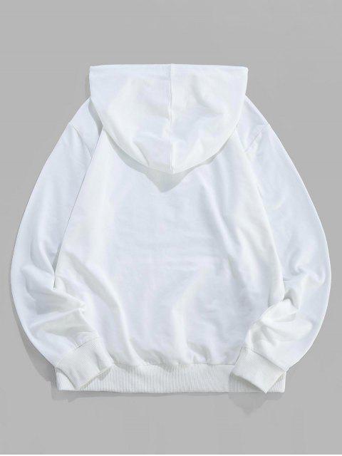 ZAFUL Gestreifte Taschentaschen-Hoodie mit Buchstaben-Druck - Weiß 2XL Mobile