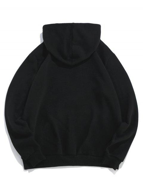 ZAFUL信玫瑰印花袋鼠口袋連帽衫 - 黑色 M Mobile