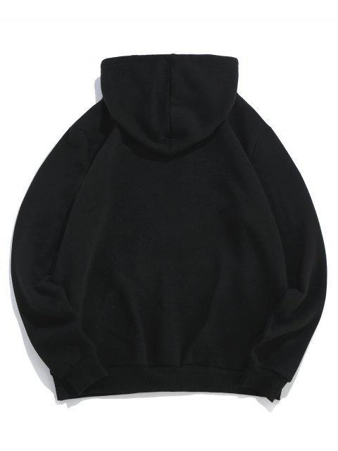 ZAFUL信玫瑰印花袋鼠口袋連帽衫 - 黑色 L Mobile