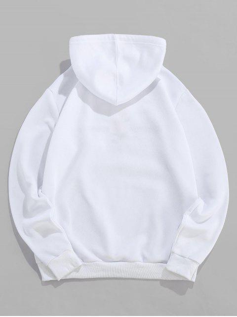 ZAFUL玫瑰刺繡信口袋連帽衫 - 白色 XL Mobile
