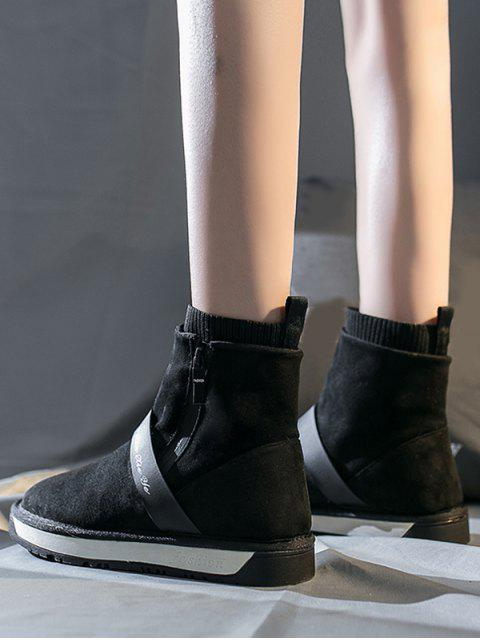 fancy Casual Round Toe Suede Ankle Boots - BLACK EU 39 Mobile