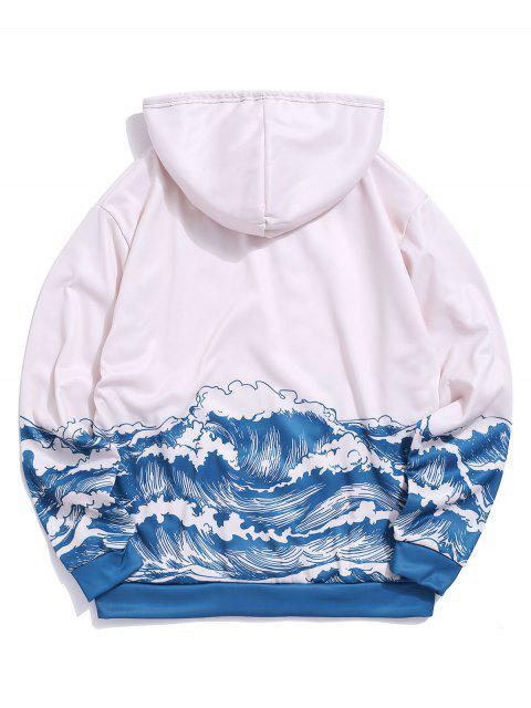 海浪打印囊袋狀抓絨帽衫 - 多-A M Mobile