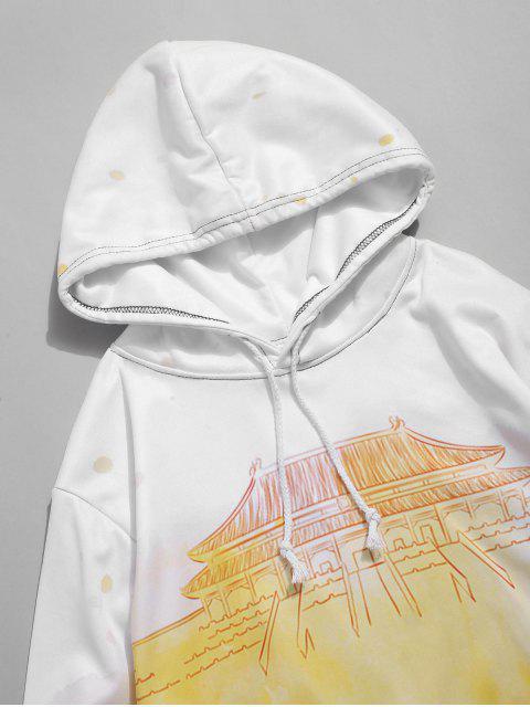 Ombre的宮打印抽繩休閒連帽外套 - 玉米黃 4XL Mobile