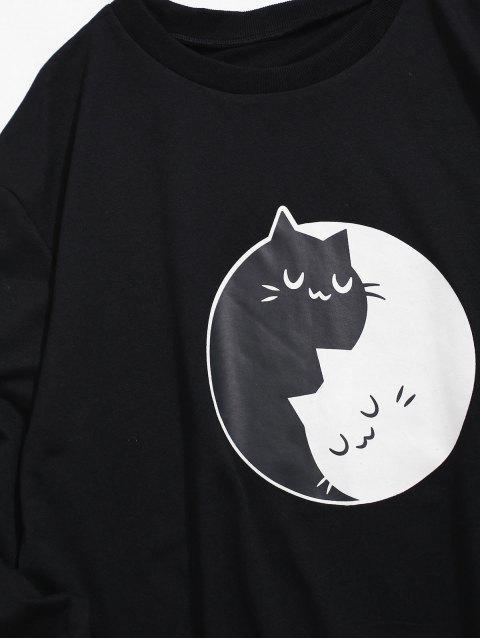 雙色卡通貓打印卹 - 黑色 S Mobile