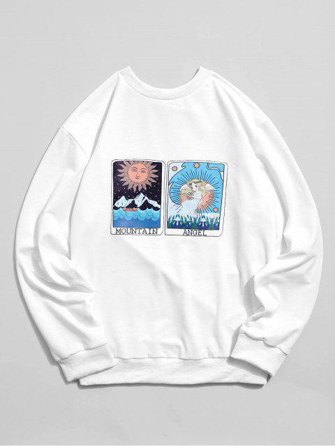 卡通太陽山和天使圖形打印卹 - 白色 S Mobile