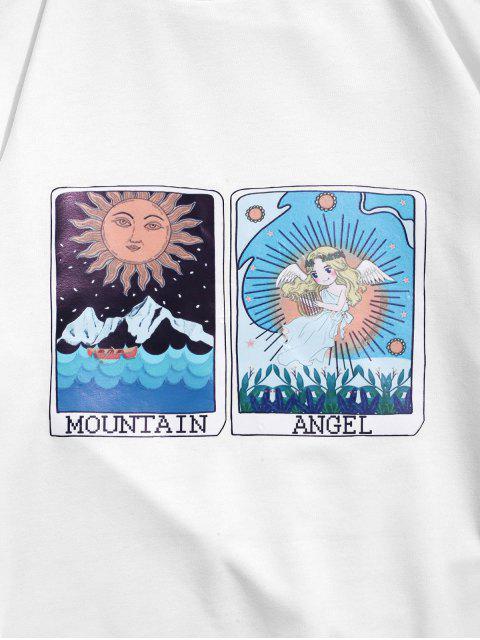 卡通太陽山和天使圖形打印卹 - 白色 M Mobile