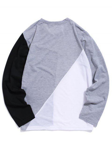 Colorblock面板長袖休閒T卹 - 灰色 L Mobile