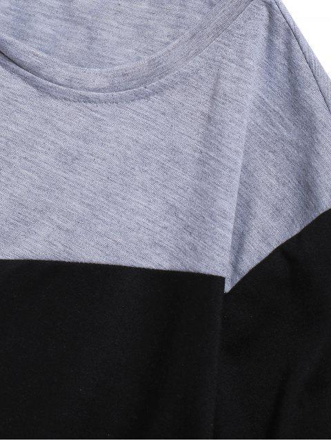 Colorblock面板長袖休閒T卹 - 灰色 2XL Mobile