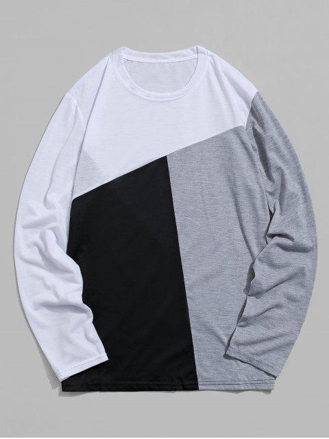 Colorblock面板長袖休閒T卹 - 白色 XL Mobile