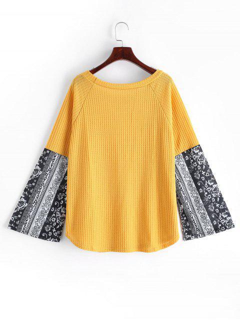 women's Printed Raglan Sleeve Contrast Knitwear - YELLOW S Mobile