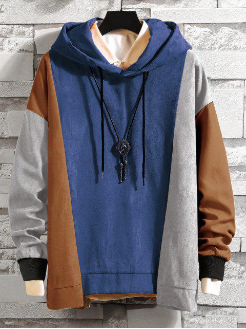 顏色阻斷不對稱下擺的抽繩連帽外套 - 藍灰色 3XL Mobile