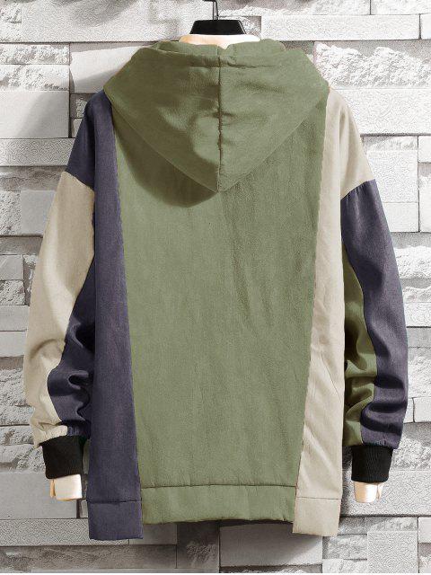 顏色阻斷不對稱下擺的抽繩連帽外套 - 淺綠色 5XL Mobile