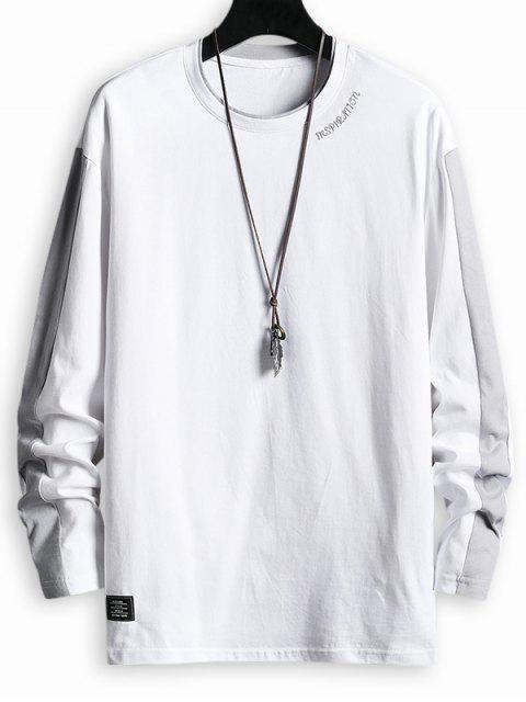 online Letter Pattern Color Spliced T-shirt - WHITE 2XL Mobile