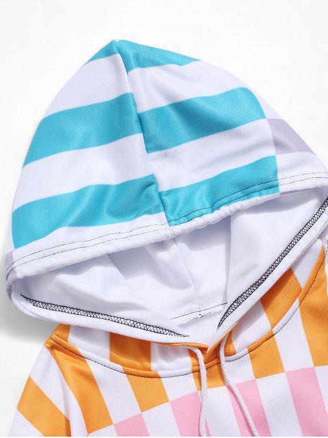 Colorblock條紋打印囊袋狀抓絨帽衫 - 多-A M Mobile