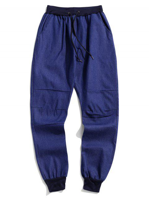 chic Solid Spliced Drawstring Jogger Pants - BLUE M Mobile