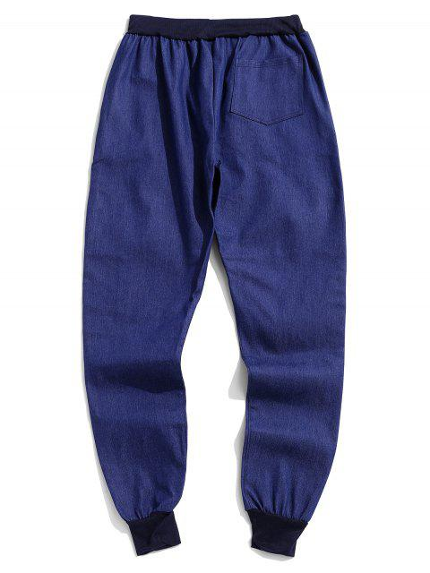 womens Solid Spliced Drawstring Jogger Pants - BLUE L Mobile