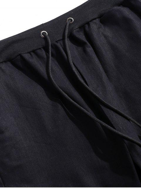 women's Solid Spliced Drawstring Jogger Pants - BLACK XS Mobile