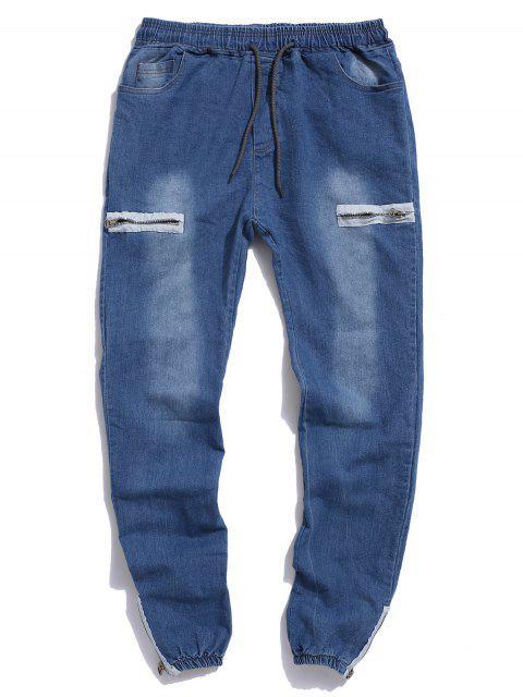 Jogger Jeans con Cremallera Dobladillo con Cordón - Azul Claro XS Mobile