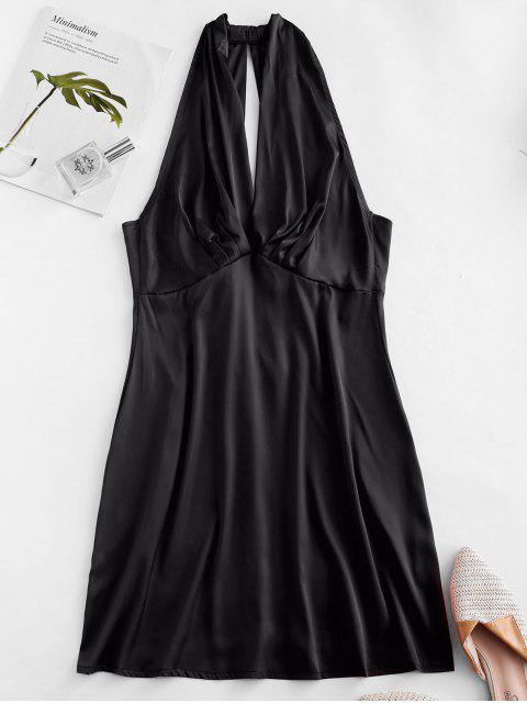 shops Plunge Pleated-detail Silky Satin Dress - BLACK S Mobile