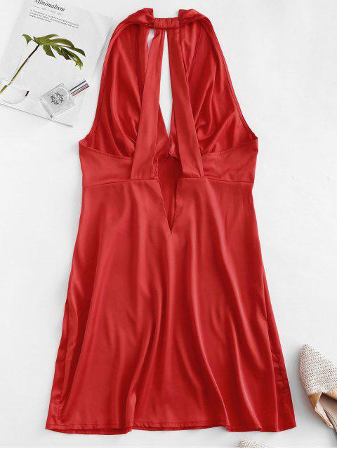 latest Plunge Pleated-detail Silky Satin Dress - RED XL Mobile