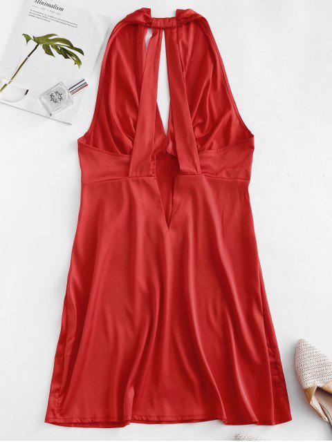 Vestido Plisado de Satén Sedoso - Rojo XL Mobile